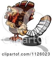 Cartoon Of A Turkey Bird Mascot Playing Hockey Royalty Free Vector Clipart
