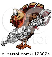 Cartoon Of A Turkey Bird Mascot Holding A Lacrosse Stick Royalty Free Vector Clipart by Chromaco