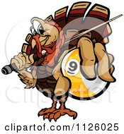 Cartoon Of A Turkey Bird Mascot Holding Out A Billiards Nine Ball Royalty Free Vector Clipart by Chromaco