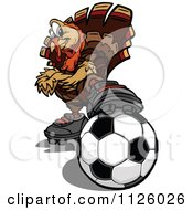 Cartoon Of A Turkey Bird Mascot Resting A Foot On A Soccer Ball Royalty Free Vector Clipart by Chromaco