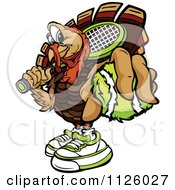 Cartoon Of A Turkey Bird Mascot Holding Out A Tennis Ball Royalty Free Vector Clipart by Chromaco