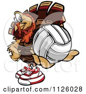 Cartoon Of A Turkey Bird Mascot Holding Out A Volleyball Royalty Free Vector Clipart by Chromaco