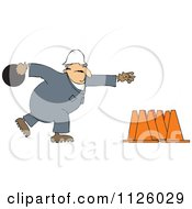 Cartoon Of A Worker Bowling For Construction Cones Royalty Free Vector Clipart