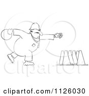 Cartoon Of An Outlined Worker Bowling For Construction Cones Royalty Free Vector Clipart