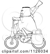 Cartoon Of An Outlined Paper Boy On A Bicycle Royalty Free Vector Clipart by djart
