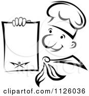 Clipart Of A Black And White Happy Chef Holding A Menu Royalty Free Vector Illustration