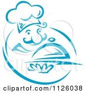 Clipart Of A Blue Happy Chef With A Cloche Royalty Free Vector Illustration