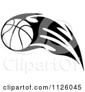 Clipart Of A Black And White Tribal Flaming Basketball 6 Royalty Free Vector Illustration