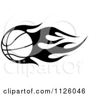 Clipart Of A Black And White Tribal Flaming Basketball 4 Royalty Free Vector Illustration
