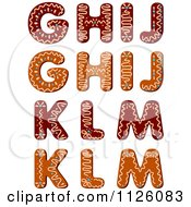 Clipart Of Christmas Gingerbread Cookie Letters G Through M Royalty Free Vector Illustration