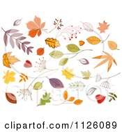Clipart Of Autumn Leaves 1 Royalty Free Vector Illustration