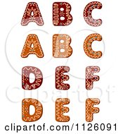 Clipart Of Christmas Gingerbread Cookie Letters A Through F Royalty Free Vector Illustration