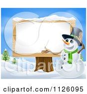 Clipart Of A Winter Snowman Presenting A Wooden Sign Royalty Free Vector Illustration