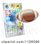 Clipart Of A 3d Football Flying Through And Breaking A Smart Cell Phone Screen Royalty Free Vector Illustration