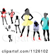 Clipart Of Silhouetted Women In Colorful Clothes And Uniforms Royalty Free Vector Illustration by leonid
