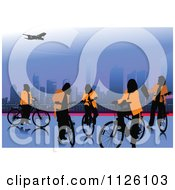 Clipart Of Silhouetted People With Bikes In A City Royalty Free Vector Illustration