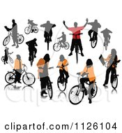 Clipart Of Silhouetted People With Bikes Royalty Free Vector Illustration