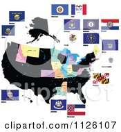 Clipart Of Flags Of The United States 2 Royalty Free Vector Illustration by leonid