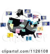 Clipart Of Flags Of The United States 3 Royalty Free Vector Illustration