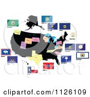 Clipart Of Flags Of The United States 4 Royalty Free Vector Illustration