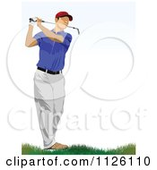 Clipart Of A Golfer Man Swinging 1 Royalty Free Vector Illustration by leonid
