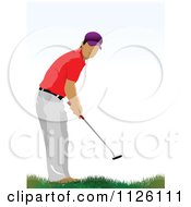 Clipart Of A Golfer Man Swinging 2 Royalty Free Vector Illustration by leonid