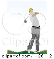 Clipart Of A Golfer Man Swinging 3 Royalty Free Vector Illustration by leonid