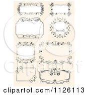Clipart Of Ornate Wedding Frames On Orange Royalty Free Vector Illustration by leonid