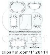 Clipart Of Ornate Wedding Frames On Blue Royalty Free Vector Illustration by leonid