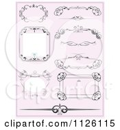 Clipart Of Ornate Wedding Frames On Pink Royalty Free Vector Illustration by leonid