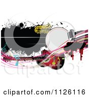 Clipart Of A Grungy Music Background With A Guitar Saxophone And Microphone 1 Royalty Free Vector Illustration