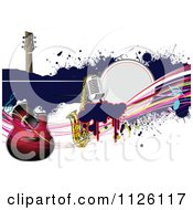 Clipart Of A Grungy Music Background With A Guitar Saxophone And Microphone 2 Royalty Free Vector Illustration