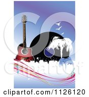 Clipart Of A Grungy Blue Music Background With A Guitar Album Birds Trees And Music Notes Royalty Free Vector Illustration