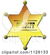Clipart Of A Gold Sheriff Star Badge Royalty Free Vector Illustration