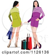 Clipart Of Fashionable Shopping Women Dressed In Green And Purple Royalty Free Vector Illustration by leonid