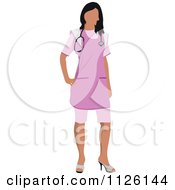 Clipart Of A Female Nurse In A Pink Uniform Royalty Free Vector Illustration by leonid