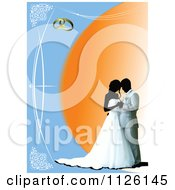 Clipart Of A Blue And Orange Wedding Couple Background Royalty Free Vector Illustration