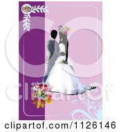 Clipart Of A Purple Wedding Couple Background Royalty Free Vector Illustration