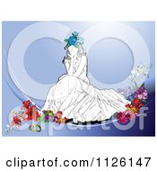 Clipart Of A Thinking Bride On Flowers Over Blue Royalty Free Vector Illustration