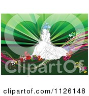 Clipart Of A Thinking Bride On Flowers Over Green Royalty Free Vector Illustration