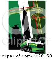 Clipart Of A Green Urban Big Rig Trucking Background Royalty Free Vector Illustration
