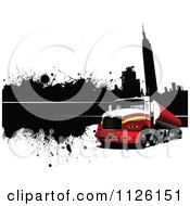 Clipart Of A Grungy Urban Big Rig Trucking Background 1 Royalty Free Vector Illustration