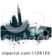Clipart Of A Grungy Urban Big Rig Trucking Background 2 Royalty Free Vector Illustration