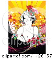 Clipart Of A Woman And Flowers Over A Burst With Butterflies Royalty Free Vector Illustration