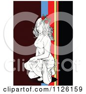 Clipart Of A Kneeling Woman Over Brown And Stripes Royalty Free Vector Illustration by leonid
