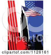 Clipart Of A Grungy American Background With A Flag And City Skyline Royalty Free Vector Illustration
