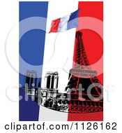 Clipart Of A Grungy French Background With A Flag And Eiffel Tower Royalty Free Vector Illustration