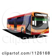 Clipart Of A Red And Orange City Bus Royalty Free Vector Illustration