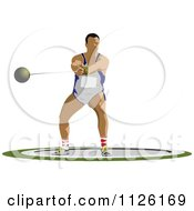 Clipart Of A Male Hammer Throw Athlete Royalty Free Vector Illustration