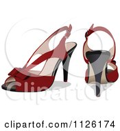 Clipart Of Red High Heels With Bows Royalty Free Vector Illustration